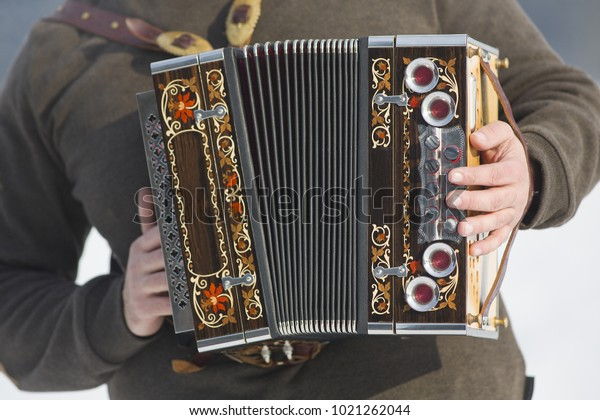 Man Playing On Beautiful Old Harmonicaaccordion Stock Photo (Edit