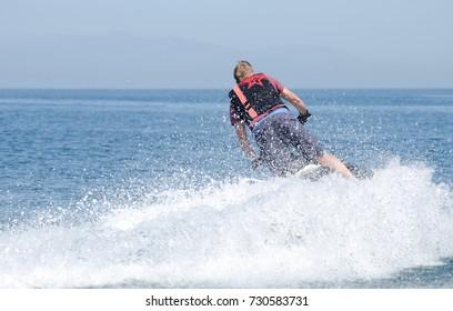 Man playing on a jet ski