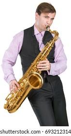 Man playing on a saxophone