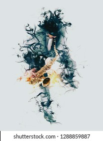 Man playing on saxophone isolated on smoke background
