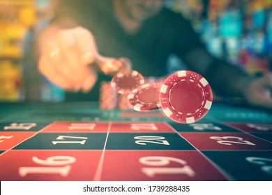 Man playing roulette at the casino - Shallow depth of field