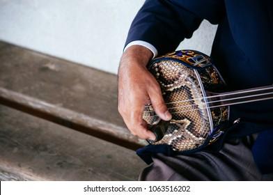 A man playing Sanshin Okinawa - Japanese traditional vintage music instrument close up hand shot