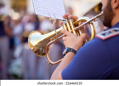 Man playing a trumpet during passion week in Spain