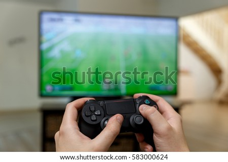 Man Playing Video Game Hands Holding Stock Photo Edit Now