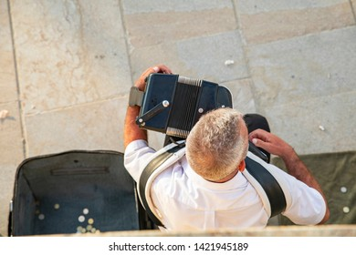 A man plays the accordion on the street. view from above
