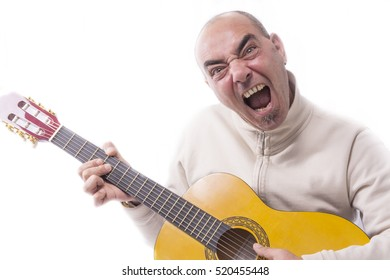 Man plays the classic guitar