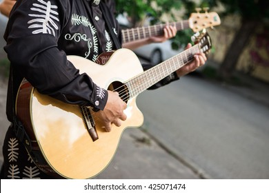 A man plays the guitar, close-up of hands. Latin American, Spanish, Mexican musician