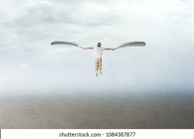 man with plumes wings fly in the sky