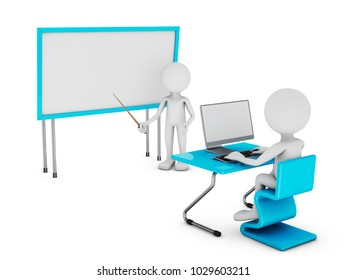Man with a pointer and a student at a table on which computer.3d rendering with Clipping Path.