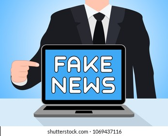 Man Pointing To Fake News Politics On Laptop 3d Illustration. Hoax Report To Misinform Public Is A Misleading Deception.