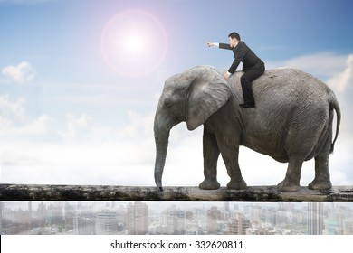 Man with pointing finger gesture riding elephant walking on tree trunk, with sunny sky cityscape background.