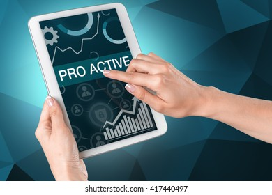 Man pointing with finger Pro active