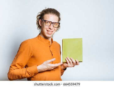 man pointing in an interesting book, says Read!