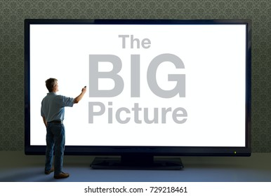 Man pointing a remote at a giant TV television that saying The BIG Picture in huge text representing importance, good deals, story details, digital overload, technology advancements and more.