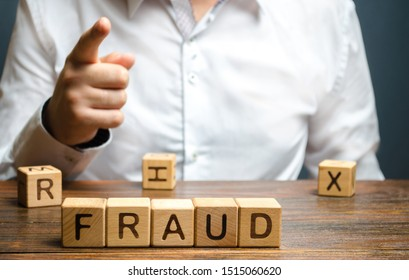 A man points a finger at a fraud. Countering deception, protection against fraudsters. The fight corruption, financial pyramids and business scams. War on crime. Cheaters