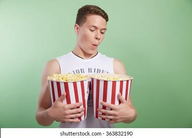 man with popcorn