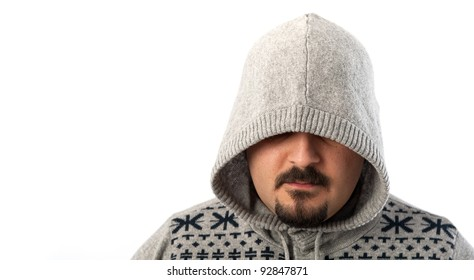 Man portrait with hooded sweatshirt on white background.