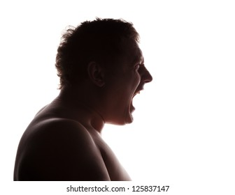 man portrait silhouette profile screaming angry in studio isolated white background