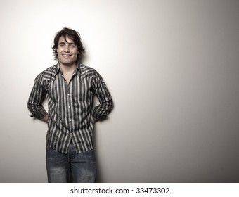Man posing on a solid background