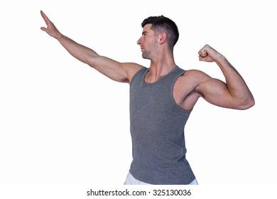 Man posing over white background