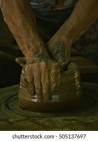 Man pottery clay.