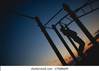 Man practice street workout