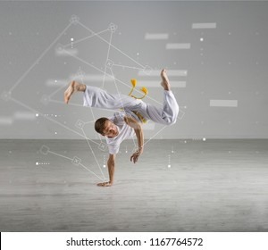 Man practicing Capoeira , brazilian martial Art. Sport science, biomechanics, information technology concept
