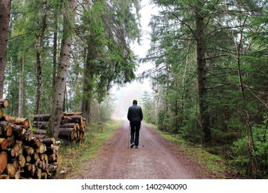 Man is practicing Nording Walking on a lonely forest path in spring, Allgäu, Bavaria