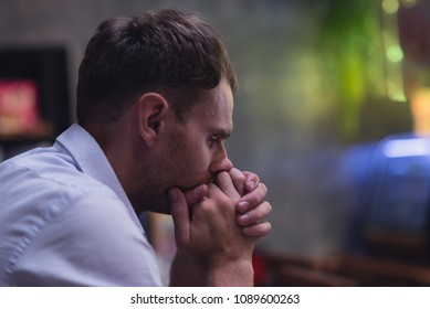 Man pray with bible, Caucasian men  believe in the prayer to God, Christian student pray for business to succeed and pray for a happy family. Bible and christian concept
