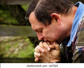Man in prayer color version