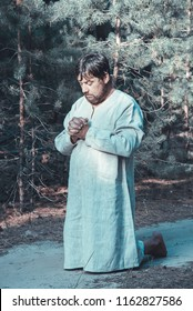 a man praying to God for forgiveness of sins. Repentance
