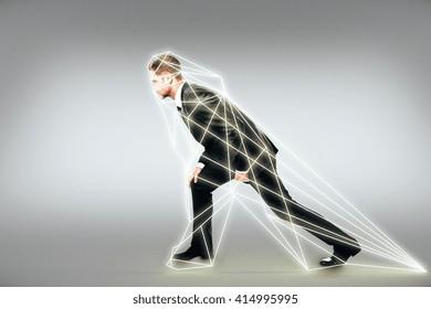 Man prepares to run in a digital interface