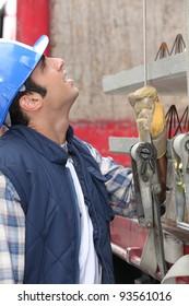 Man preparing truck