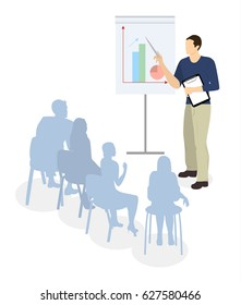 Man with presentation on white background. Concept of analyzing, working and marketing.