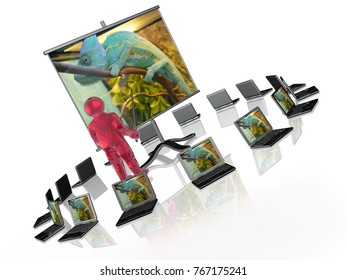 Man with presentation stand about nature, white background, 3D illustration.