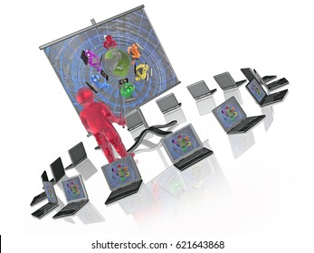 Man with presentation stand, white background, 3D illustration.