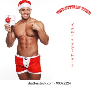 A man presenting a christmas present