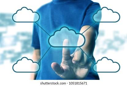 Man press cloud computing