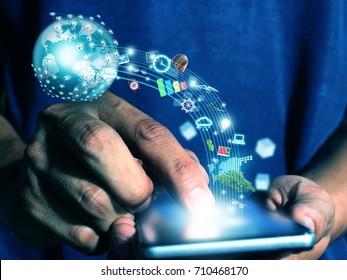 man press smart phone