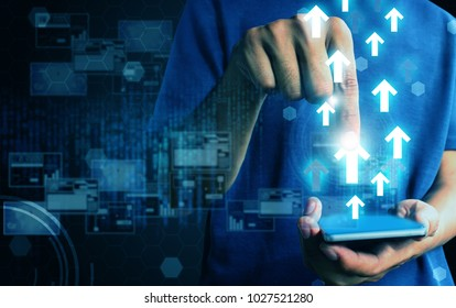 man press smart phone data