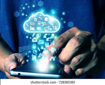 man press smart phone send data to cloud