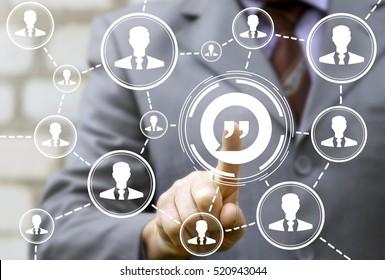 Man presses quote bubbles icon. Dialog comma virgule log social network communication web blog concept. Blogging Social Media technology internet. Quotation mark in speech bubble symbol. Double quotes