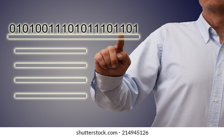man pressing button