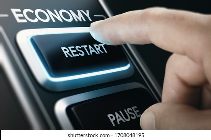 Man pressing a button to restart national economy after crisis. Composite image between a hand photography and a 3D background.