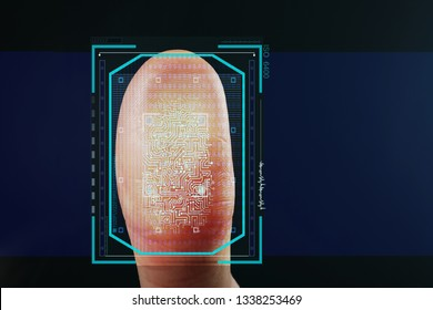 Man pressing control glass of biometric fingerprint scanner on color background, closeup with space for text. Digital identity
