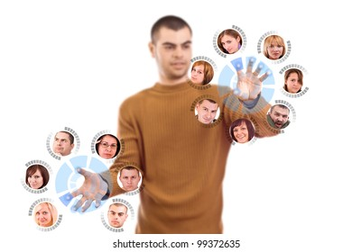 Man pressing digital button, futuristic technology in white background