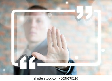 Man pressing empty quote button on a virtual interface. Quote For Text Template. Empty Speech Square Quotation Bubble. Citation Banner Layout. Mockup Comma Virgule Talk Quotes.