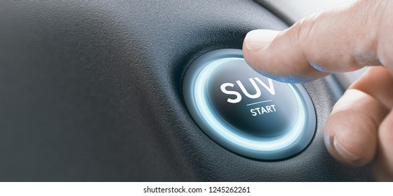 Man pressing a SUV  engine start button with blue lignt. Composite image between a hand photography and a 3D background.