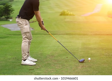 a man pro golf train driver swing playing golf game outdoor