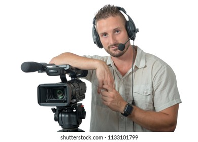 man with professional camcorder isolated on the white background